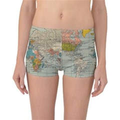 Vintage World Map Reversible Boyleg Bikini Bottoms