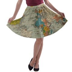 Vintage World Map A Line Skater Skirt