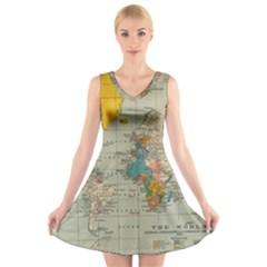 Vintage World Map V Neck Sleeveless Skater Dress