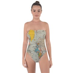 Vintage World Map Tie Back One Piece Swimsuit