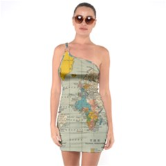 Vintage World Map One Soulder Bodycon Dress