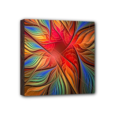 Vintage Colors Flower Petals Spiral Abstract Mini Canvas 4  X 4