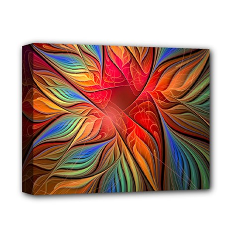 Vintage Colors Flower Petals Spiral Abstract Deluxe Canvas 14  X 11