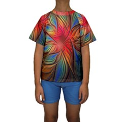Vintage Colors Flower Petals Spiral Abstract Kids  Short Sleeve Swimwear