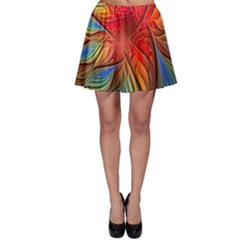 Vintage Colors Flower Petals Spiral Abstract Skater Skirt