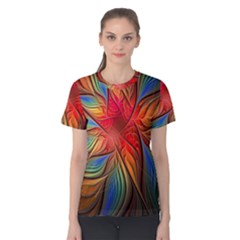 Vintage Colors Flower Petals Spiral Abstract Women s Cotton Tee