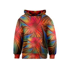 Vintage Colors Flower Petals Spiral Abstract Kids  Pullover Hoodie