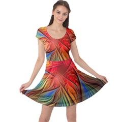 Vintage Colors Flower Petals Spiral Abstract Cap Sleeve Dresses