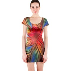 Vintage Colors Flower Petals Spiral Abstract Short Sleeve Bodycon Dress