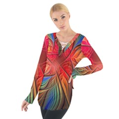 Vintage Colors Flower Petals Spiral Abstract Tie Up Tee