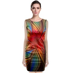 Vintage Colors Flower Petals Spiral Abstract Classic Sleeveless Midi Dress