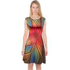 Vintage Colors Flower Petals Spiral Abstract Capsleeve Midi Dress