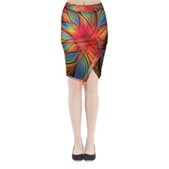 Vintage Colors Flower Petals Spiral Abstract Midi Wrap Pencil Skirt