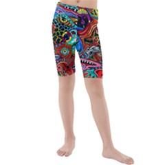 Vector Art Pattern Kids  Mid Length Swim Shorts