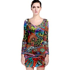 Vector Art Pattern Long Sleeve Bodycon Dress