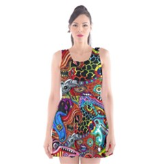Vector Art Pattern Scoop Neck Skater Dress