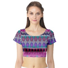 Tribal Seamless Aztec Pattern Short Sleeve Crop Top (tight Fit)