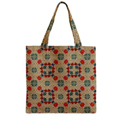 Traditional Scandinavian Pattern Zipper Grocery Tote Bag