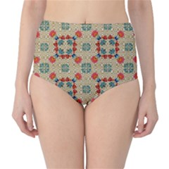 Traditional Scandinavian Pattern High Waist Bikini Bottoms