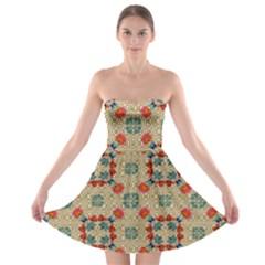 Traditional Scandinavian Pattern Strapless Bra Top Dress