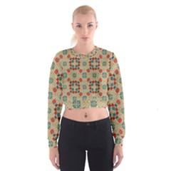 Traditional Scandinavian Pattern Cropped Sweatshirt