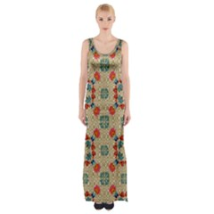 Traditional Scandinavian Pattern Maxi Thigh Split Dress