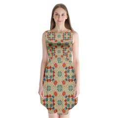 Traditional Scandinavian Pattern Sleeveless Chiffon Dress