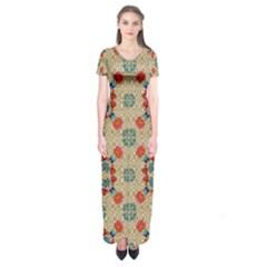 Traditional Scandinavian Pattern Short Sleeve Maxi Dress