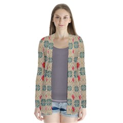 Traditional Scandinavian Pattern Drape Collar Cardigan