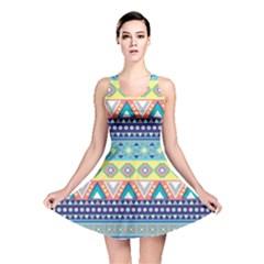 Tribal Print Reversible Skater Dress