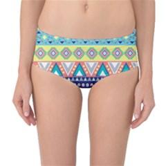 Tribal Print Mid Waist Bikini Bottoms