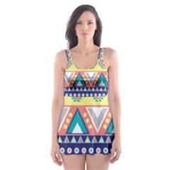 Tribal Print Skater Dress Swimsuit