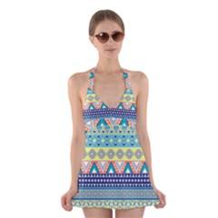 Tribal Print Halter Swimsuit Dress