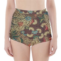 Traditional Batik Art Pattern High Waisted Bikini Bottoms