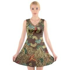 Traditional Batik Art Pattern V Neck Sleeveless Skater Dress