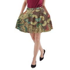 Traditional Batik Art Pattern A Line Pocket Skirt
