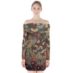 Traditional Batik Art Pattern Long Sleeve Off Shoulder Dress