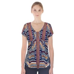 Traditional Batik Indonesia Pattern Short Sleeve Front Detail Top