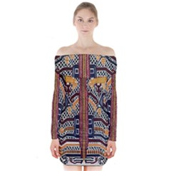 Traditional Batik Indonesia Pattern Long Sleeve Off Shoulder Dress