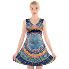 Traditional Pakistani Art V Neck Sleeveless Skater Dress