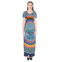 Traditional Pakistani Art Short Sleeve Maxi Dress