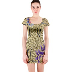 Traditional Art Batik Pattern Short Sleeve Bodycon Dress