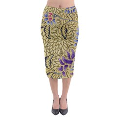 Traditional Art Batik Pattern Midi Pencil Skirt