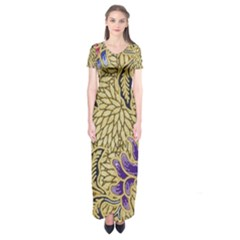 Traditional Art Batik Pattern Short Sleeve Maxi Dress