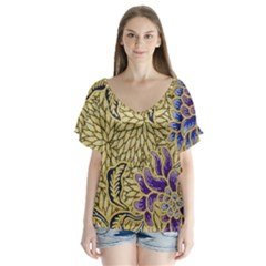 Traditional Art Batik Pattern Flutter Sleeve Top