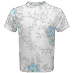 Traditional Art Batik Flower Pattern Men s Cotton Tee