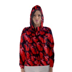 The Red Butterflies Sticking Together In The Nature Hooded Wind Breaker (women)