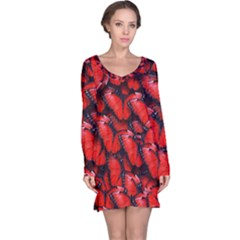 The Red Butterflies Sticking Together In The Nature Long Sleeve Nightdress