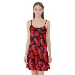 The Red Butterflies Sticking Together In The Nature Satin Night Slip