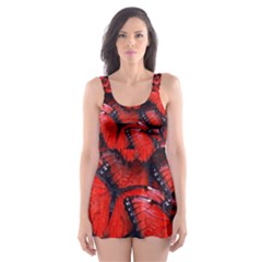 The Red Butterflies Sticking Together In The Nature Skater Dress Swimsuit